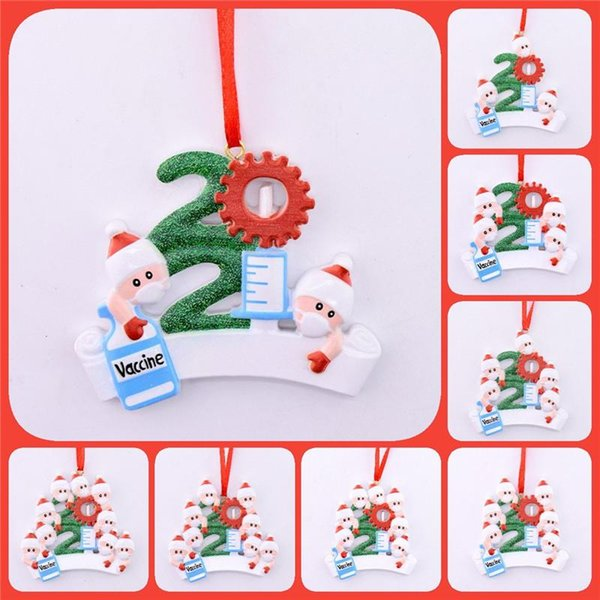 top popular 2021 Quarantine Personalized Christmas Decoration Writing DIY Hanging Ornament with Rope Cute Resin Snowman Pendant DHL Free Delivery 2021