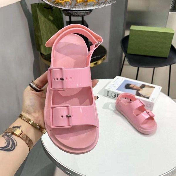 top popular Women Rubber Sandal Mini Double G Jelly Slippers Womens Scuffs Slipper Luxury designer sandals Flat Mule Adjustable Buckle Beach Flip Flops With BOX 2021