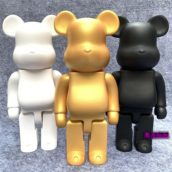 top popular Hot 28cm 400% Bearbrick Bear@Brick Action Figures Bear PVC Model Figures DIY Paint Dolls Kids Toys Children Birthday Gifts R0327 2021