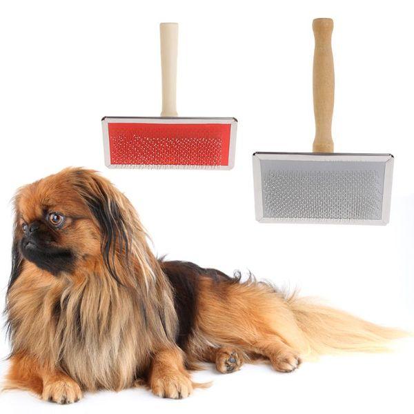 Pet Dog Grooming Comb Shedding Hair Remove Brush Wood Handle Slicker Dog Supply Pet Hair Remover Dog Supplies