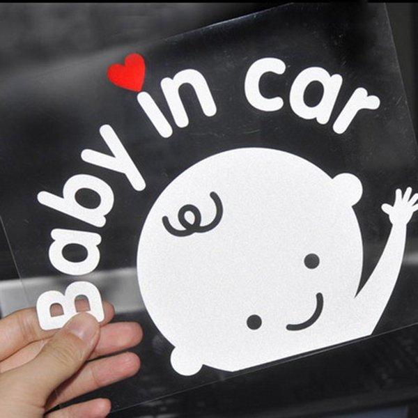 top popular 3D Cartoon Car Stickers Reflective Vinyl Styling Baby In Car Warming Car Sticker ,Baby on Board Reflective wall sticker 2021