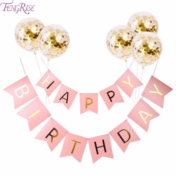 best selling Gold Happy Birthday Banner Gold Confetti Balloons Letter Banner Birthday Party Decorations Kids Party Favors Events