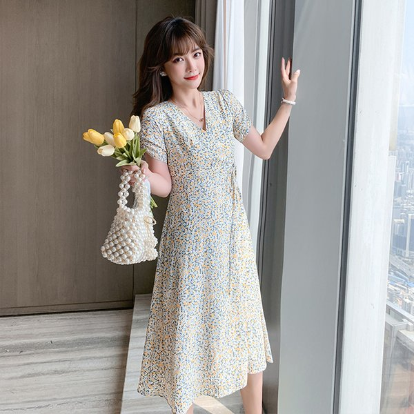Floral Dress for Women Korean Style Fashion Short Sleeve Clothing Casual High Waisted V-Neck A-Line Mid-Calf Dresses Apparel Womens Clothing Dresses Casual Dresses Party Dresses Runway Dresses Street Style Dresses Work Dresses