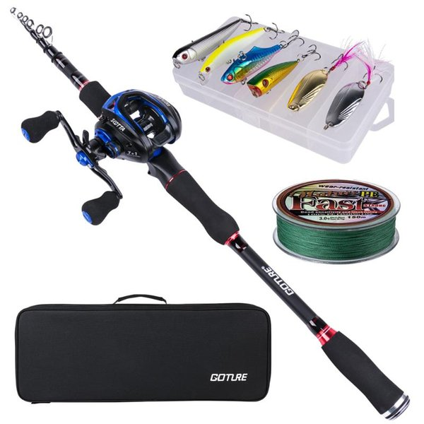 top popular Rod Reel Combo Goture Fishing 2.1m 2.4m Casting Baitcasting Kit For Carp Pike Accessories 2021