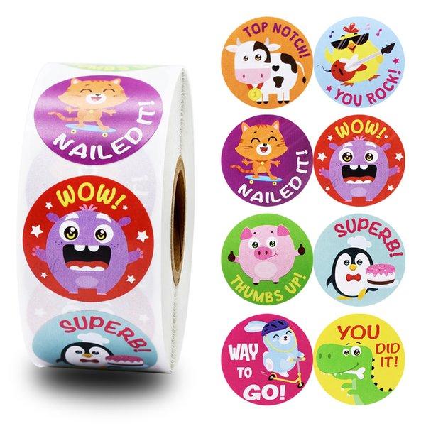 Animals Reward Sticker for Kids 500pcs/roll 1 inch Cartoon Sticker for Child Classic Toys Sticker School Teacher Reward Supplies