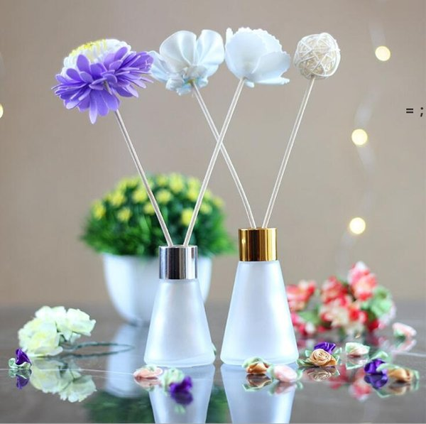 top popular Conical Aromatherapy Glass Bottles 30ml 60ml Scent Volatilization Glasses Container Rattan Reed Diffuser Car Perfume Bottle HHD7540 2021