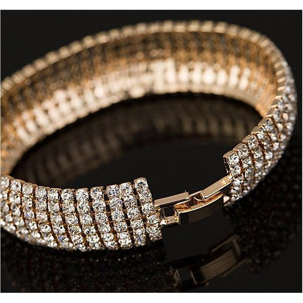 Link, Chain Factory Price Gold And Silver Plated Classic Crystal Pave Link Bracelet Bangle Fashion Full Rhinestone Jewelry For Women Eoe6Y ESPD 0OWL