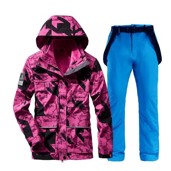 top popular Ski Suit For Women Outdoor Waterproof Thermal Jacket+ Pants Windproof Skiing And Snowboarding Suits Female Winter Warm Snow Coat 2021