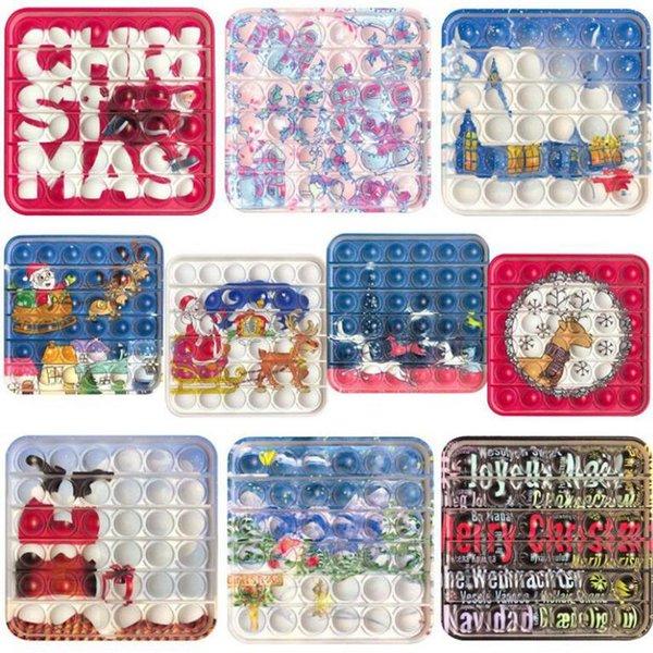 top popular Christmas Push Bubble Fidget Toys Party Favor Santa Claus Anti Stress Educational Decompression Toy Collectable 2021