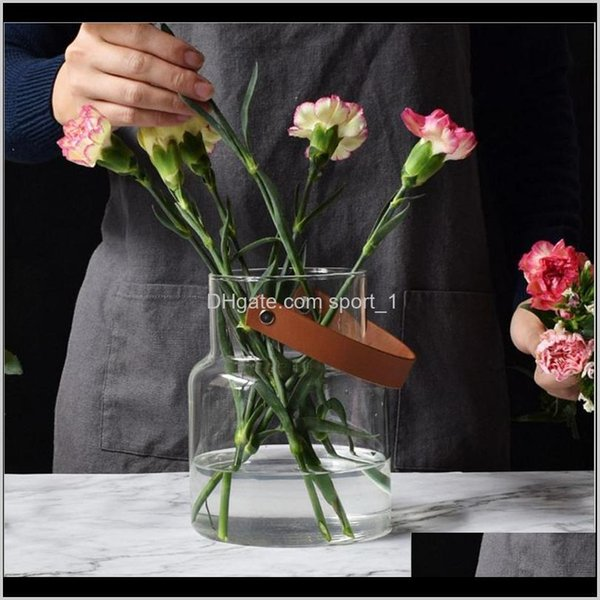 best selling Bottles Jars Aents Décor Home & Garden Drop Delivery 2021 Unique Nordic Glass Jar With Leather Handle Minimalist Desk Storage Bottle Organize