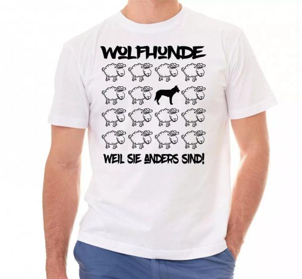 Wolf Dog Unisex T-Shirt Black Sheep Men Dog Dog Motif Wolf