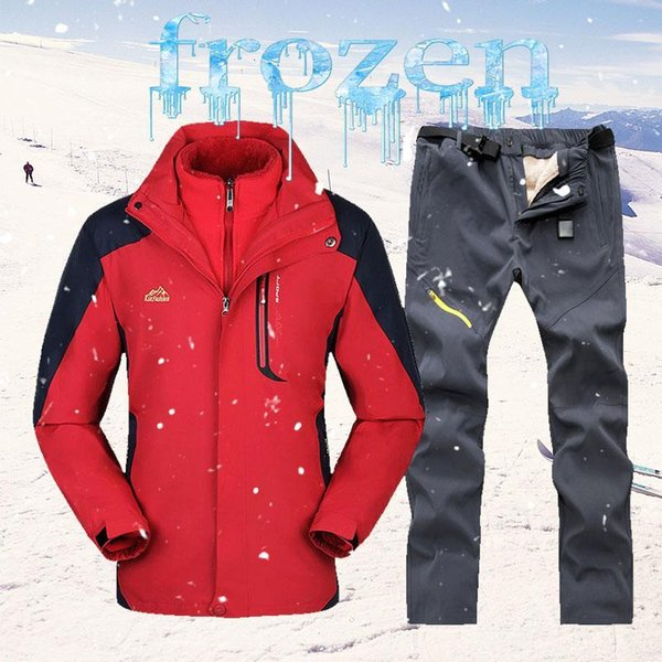 top popular 2020 Winter Ski Suit Men Snow Ski Jackets +Fleece Pants Outdoor Thermal Waterproof Windproof Skiing And Snowboarding Sets 2021