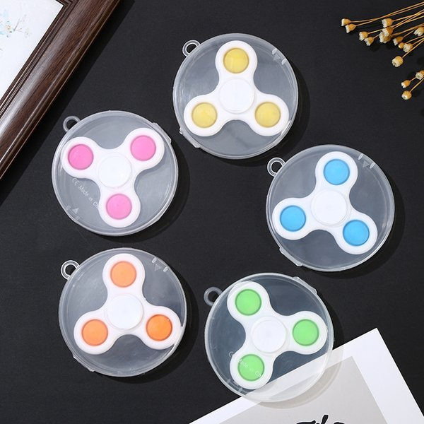 top popular 3,5 leaves 2 in one toy creative finger bubble music fingertip gyro trouble keychain decompression toys 2021