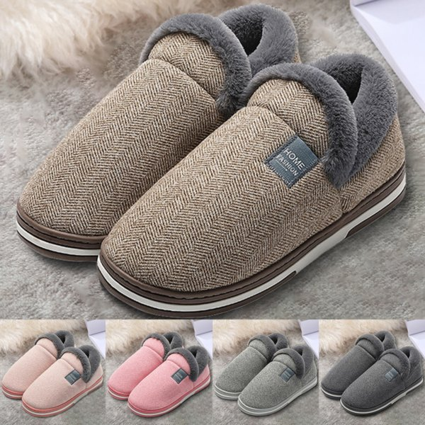 New Winter Home Slippers for Men Winter Furry Short Plush Man Slippers Non Slip Bedroom Slippers Couple Soft Indoor Shoes Male