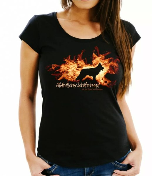 Ladies T-Shirt Old German Shepherd Dog Fire and Flame by siviwonder Dog Motif