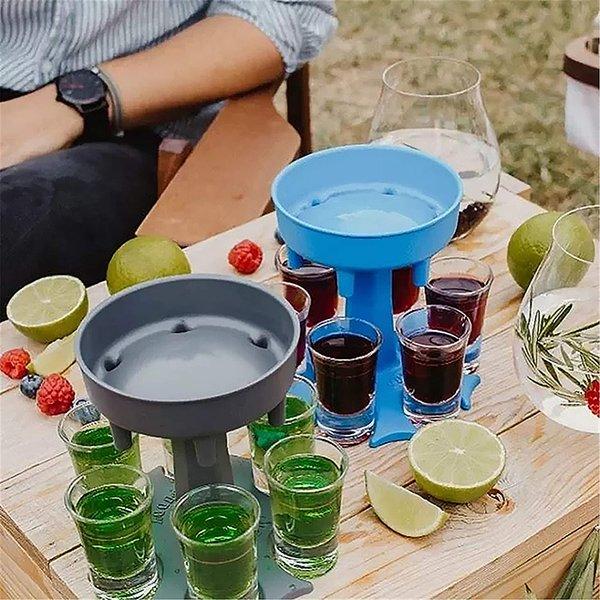 6 Shot Glass Dispenser Holder Caddy Liquor Dispenser Portable party pour dispensers Bar Accessory Drinking Games Glass Dispenser
