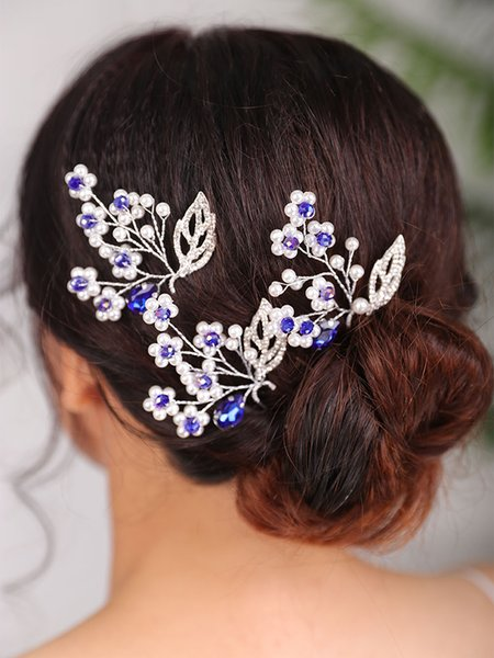 Vintage Headdress Blue Hair pin Flower head jewelry party Bridal Hairstyles Jewellery Wedding Hair Accessories for women