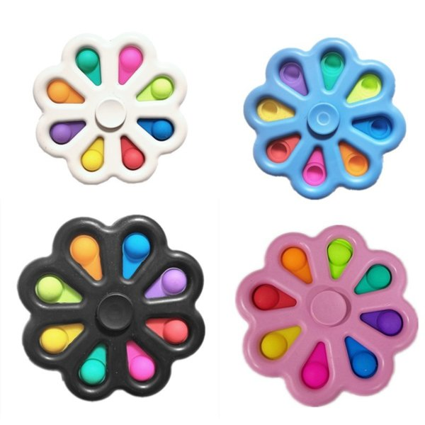 best selling Simple Dimple Toys 8 Bubbles Push Pop It Stress Relief Reducer 2 IN 1 Fidget Spinner ADHD Bubble 9 cm Mix Color