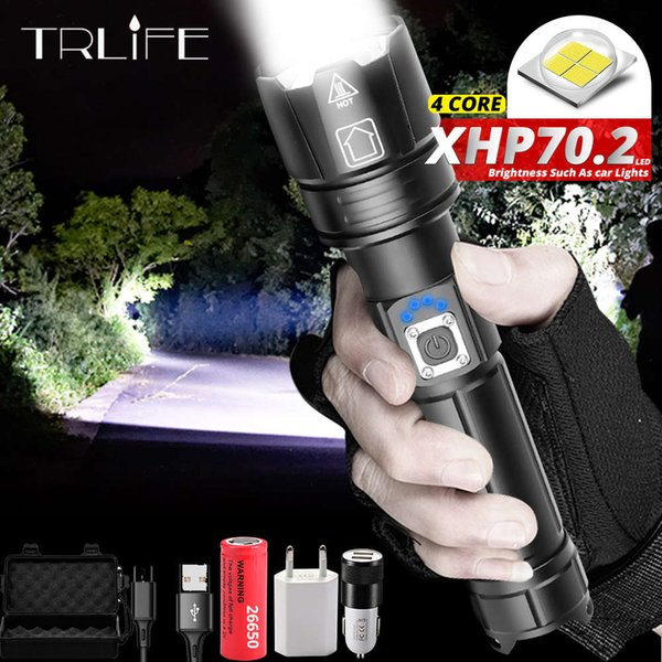 top popular Newest Ultra Powerful XHP70.2 LED Flashlight 26650 Flashlights XLamp XHP50 USB Rechargeable Tactical Light use 18650 Zoom Torch 201207 2021