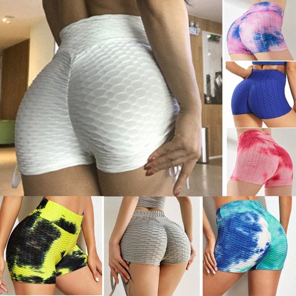 top popular Women TikTok Yoga Shorts pants Summer Beach Bubble Butt Lift High Waist Yoga Shorts Scrunch Textured Gym Ruched Squat Workout Shorts S B3gY# 2021