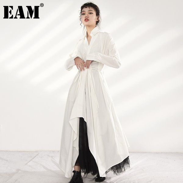 eam women white brief irregular bandage long dress new lapel long sleeve loose fit fashion tide spring autumn 2021 jy77800, Black;gray