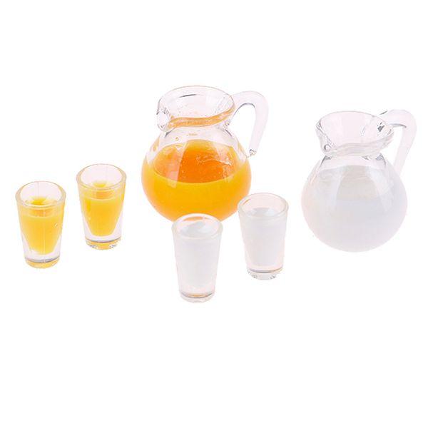 112 Dollhouse Miniature Accessories Mini Juice Jug Cup Set Simulation Drink Milk Model Toys for Doll House Decoration