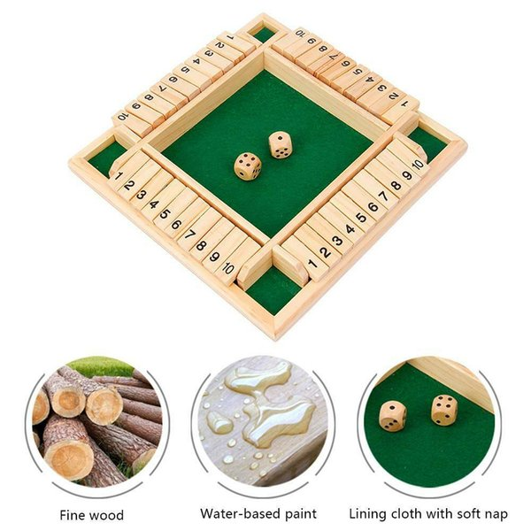 Kids Game 2-4 People Mahjong Digital Game Home Game Party 4 X Players Shut The Box Family Wooden Classic Board