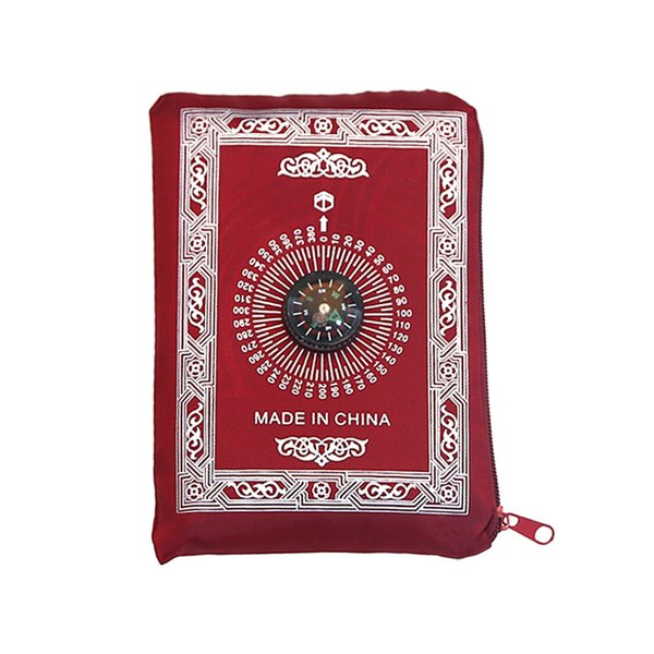 top popular Islamic Prayer Rug Portable Braided Carpets Mat Zipper Compass Blankets Travel Pocket Rugs Muslim Worship Blanket Ocean freight GWE7934 2021