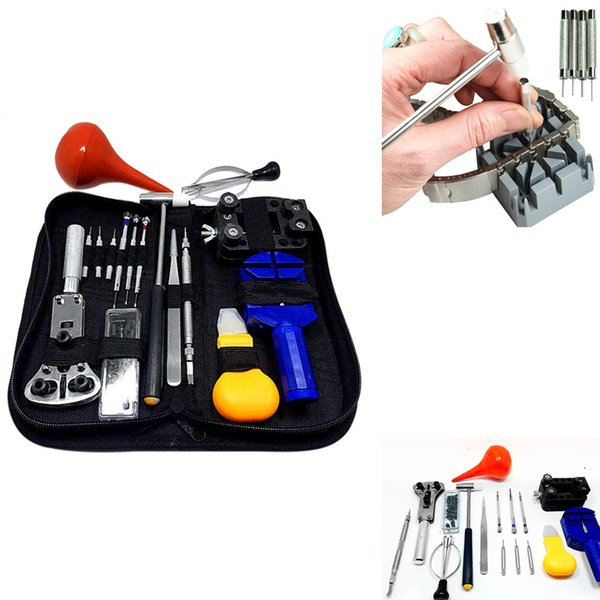 best selling 16PCs Set Professional Watch Repair Tool Kit Portable Watchmaker Pin Remover Hammer Pliers Opener Adjuster Universal Watch Tool ZHL2804