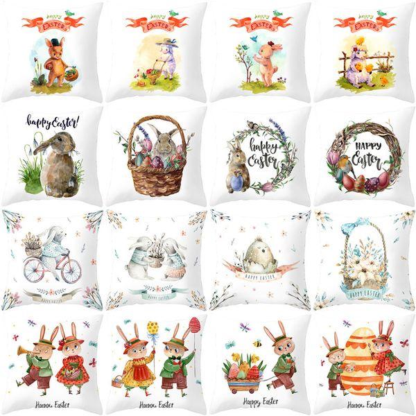 top popular Cartoon Rabbit Easter pillow cover 2021 new sofa cushion cover peach skin velvet bedside pillow cover 2021