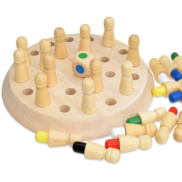 top popular Kids Wooden Memory Match Stick Chess Fun Color Board Game Puzzles Educational Toy Cognitive Ability Learning Toys for Children 2021