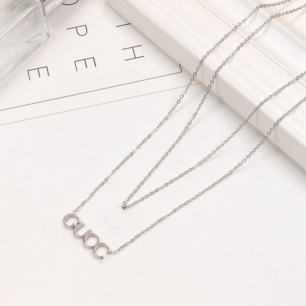 top popular 2021 High quality extravagant Design necklace double fashion love letter stainless steel women jewelry wholesale 2021