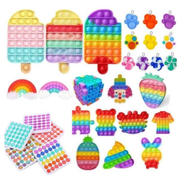top popular 2021 Latest DHL Rainbow Push Pop It Fidget Toy Sensory Push Bubble Fidget Sensory Autism Special Needs Anxiety Stress Reliever for Office Fluorescen Stock 2021
