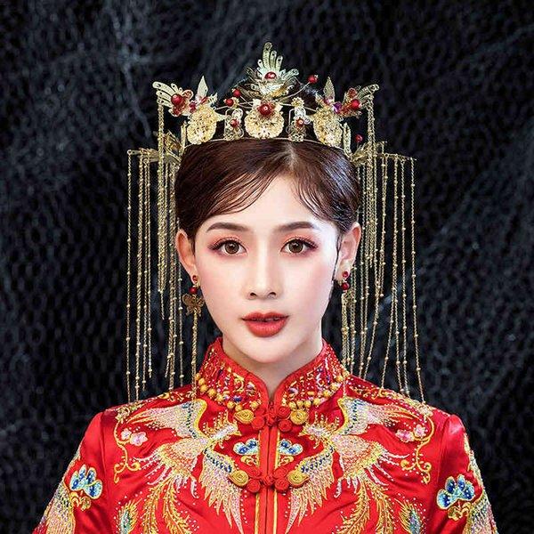 Grand bride 2019 new Chinese style fringes wedding style headdress, ancient costume, Hanfu hairdress set good