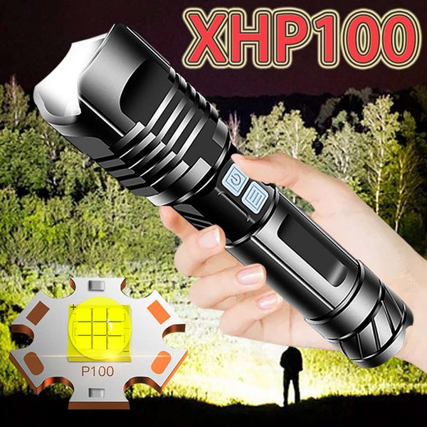 best selling Super Xhp100 Most Powerful Led Flashlight USB Rechargeable Led Torch Xhp90 Tactical Flashlight Xhp50 Hand Lamp 18650 Flash Light 201207