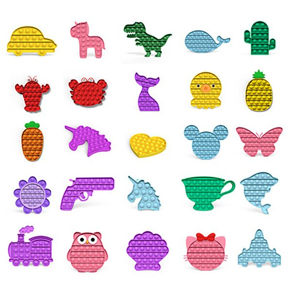 best selling Rainbow Watermark Camouflage Pop Fidgets Toys Party Sensory Dinosaur Airplane Push Bubble Decompression Special Needs Anxiety Reliever Office Workers Fast