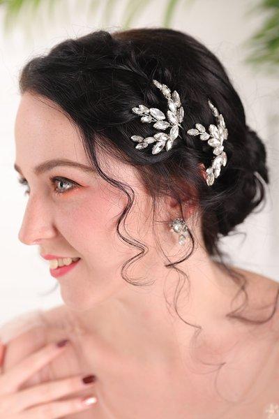 Elegant Silver Handmade Rhinestones Hair pins sets chic Wedding Hair pins Bridal Headpieces party for women