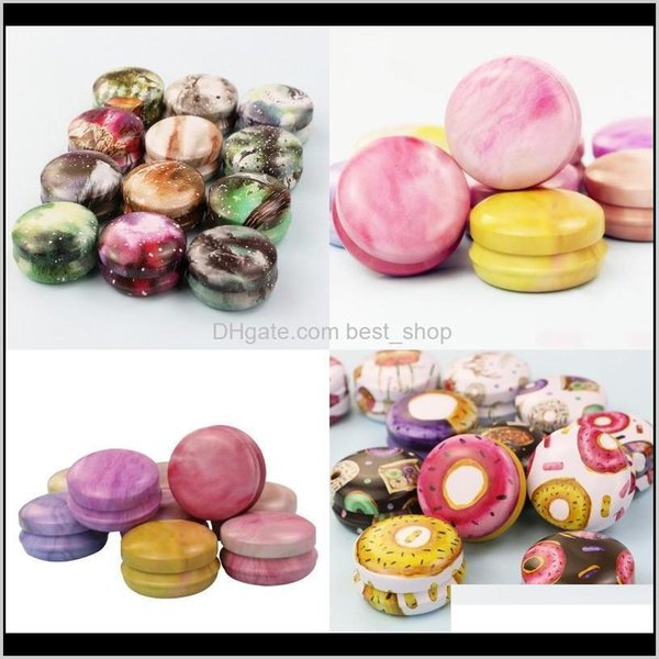 best selling Candles Décor Home Garden Drop Delivery 2021 Donut Flower Ink Pattern Box Personal Family Aromatherapy Iron Candle Jar Portable Ointment Lips