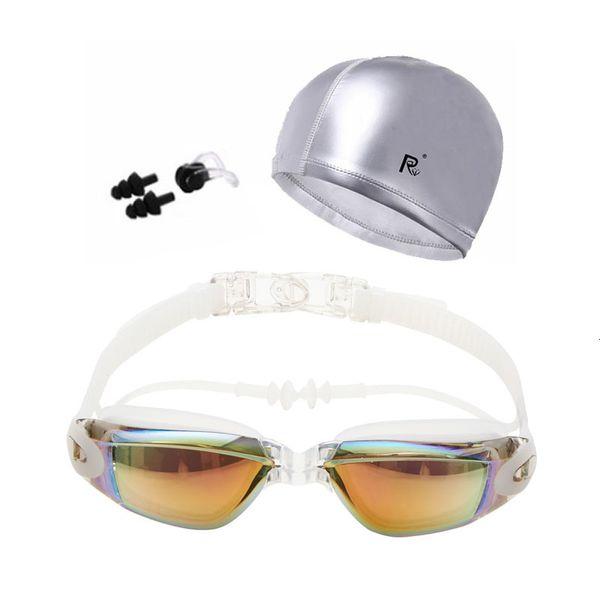 best selling Diving Goggles with cap Adults Ear Plug Nose Clip set Professional Waterproof anti-fog UV Swim Eyewear Swimmming Glasses