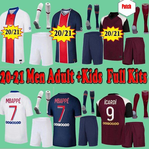 top popular Maillots de football kits 20 21 Fourth soccer jersey 2020 2021 MBAPPE ICARDI shirt men kids set uniform maillot de foot Paris PAREDES hommes 2021