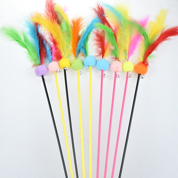 best selling Rabbit Furs Pet Cat Toys Cats Teaser Wand Dog Feather Playing with bells elastoplastic products WY1336