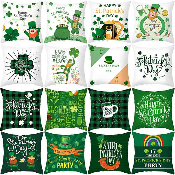 best selling St. Patrick's Day pillow case green cartoon letter clover sofa cushion cover Irish National Day pillow