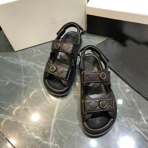 best selling luxury designer womens flat sandals crystal calfskin open toe pearl buckle Platforms casual thick soled shoes women Platform Sandal