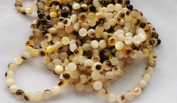 """best selling 16"""" strand --Genuine Black Mother of Pearl Shell Cat Eye Seashell 2-9mm Beads pearl yellow white shell bead for Jewelry Making"""