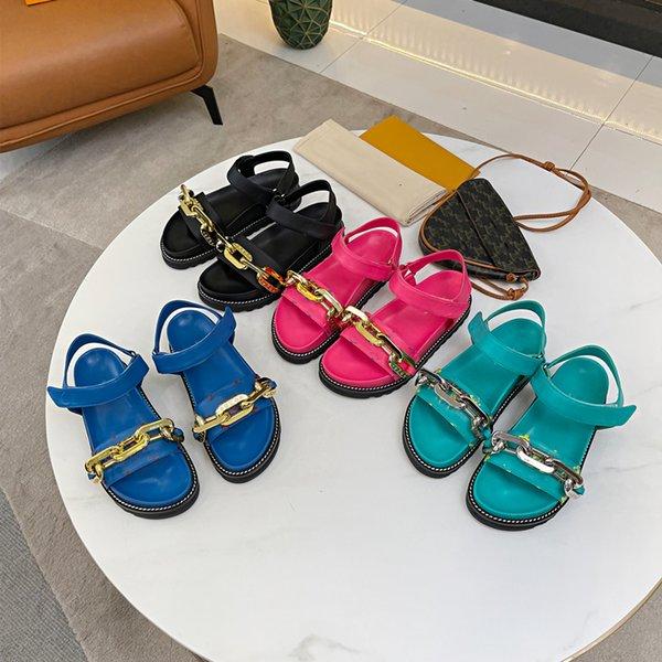 best selling 2021Luxury brand sandals metal chain senior designer lulu jumpman kaws kanye tn summer women's shoes fashion beach slippers 97 Blue green black rose af1 big size35-41