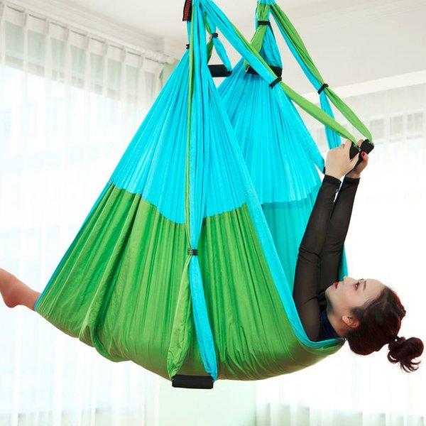Sport Unterhaltung Mix Farbe Anti-Gravity Aerial Yoga Hängematte Set mit Verlängerungsgürtel und Tragetasche Flying Swing Home Gym Hängende Gürtel