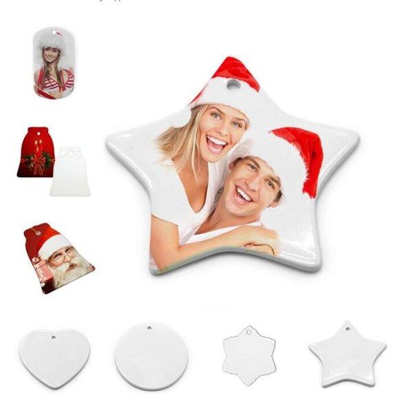 top popular US Stock DIY Sublimation Blank Ceramic Pendant Christmas Decorations Heat Transfer Printing Ceramics Ornament 10 styles CT16 2021