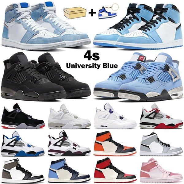best selling Basketball shoes men women 4s University Blue 4 White Oreo Black Cat 1s high OG Hyper Royal Dark Mocha UNC mens Sports Sneakers