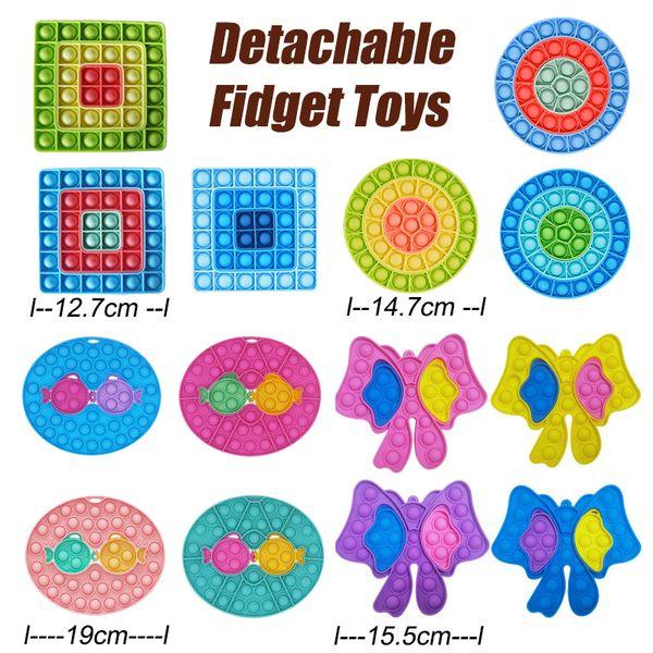 best selling Detachable Fidget Push Bubble Toys Anti-Stress Decompression Board kiss fish Finger Toy Thimble Round Square Bow Shapes 072307