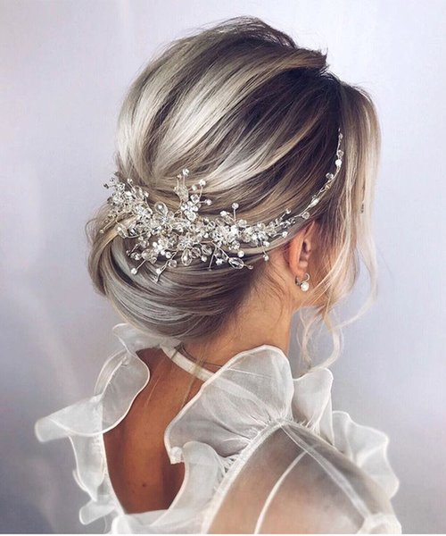 Vintage Rose gold Silver Wedding Accessories bridal headwear Shiny Crystal Hair comb Elegant banquet for women
